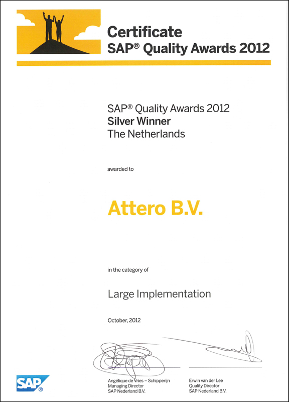 SAP Silver Quality Award for the 1SAP4ALL Project of Attero